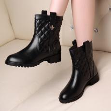 韩版真皮低跟马丁靴低跟牛皮短靴通勤百搭靴女/FDME/X793/Z6638