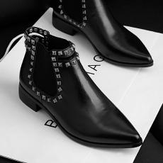 欧美亚历秋冬山大同款裸靴头层牛皮短靴尖头女靴/WMXE/W06/Z6615