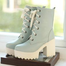韩版甜美秋冬单靴新款简约粗跟女靴朋克短靴/HR/C7/P6571