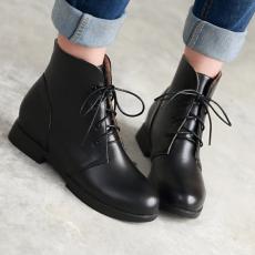 韩版秋冬新款马丁靴系带圆头短靴甜美百搭女靴子/JQL/W3/P6559