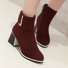 欧美简约粗跟骑士靴秋冬单靴短靴女裸靴/XH/D-5/P6573