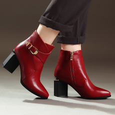 英伦全皮短靴搭扣牛皮粗跟女靴冬季甜美防寒靴/HLYZ/8022/Z6631