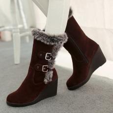 韩版日系冬季毛毛靴坡跟棉靴搭扣雪地靴女/SK/-25/P6693