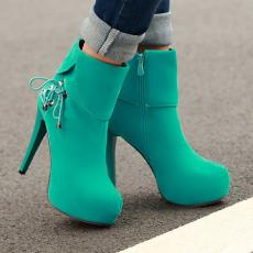 韩版秋冬短靴新款细跟女靴甜美百搭单靴子女/HR/C15/P6566