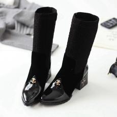 冬季英伦新款中靴克罗心拼接女靴粗跟百搭中筒靴/GXZ/A381/P6666