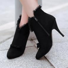 秋冬新品尖头短靴甜美蝴蝶结蕾丝裸靴细高跟女靴子/OD/D505/P6551