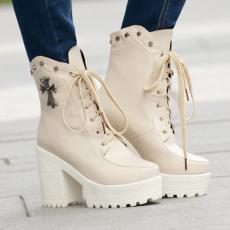 欧美秋冬新款短靴系带粗跟女靴纯色克罗心靴子/QS/01-3/P6561