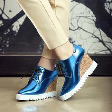 日韩潮流镜面鞋春夏方头坡跟鞋内里头层猪皮防滑DTN/7002/Z1852