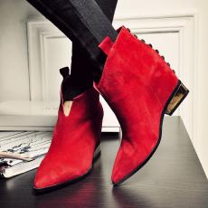 欧美时尚尖头真皮短靴电镀跟大柳钉全皮女靴/KLLN/T1114/Z6636