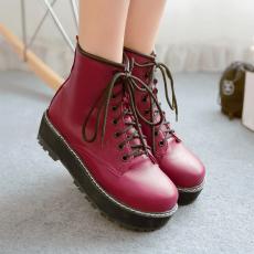 韩版2014秋冬新款马丁靴系带松糕女靴短靴裸靴女/OYL/160/P6635