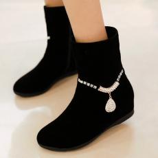 韩版甜美内增高女靴冬季新款防寒靴V型水钻短靴/Jl/895/P6620
