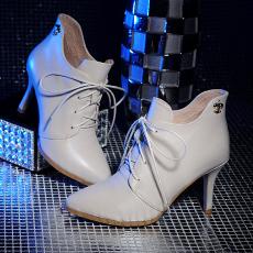 韩版秋冬真皮细跟裸靴小牛皮系带单靴甜美女靴/SS/070/Z6611
