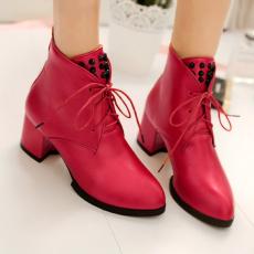 韩版秋冬纯色裸靴粗跟短靴系带百搭女靴柳钉靴女/WM/A-127/P6569