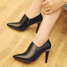 韩版春季深口真皮女鞋尖头高跟鞋细跟甜美鞋KL/602/Z1856