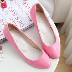 时尚糖果纯色小坡跟浅口女鞋/MLE/M-6