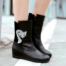 韩版冬季素人靴甜美l灵狐靴水钻机车靴内增高短靴女/JL/893/P6619
