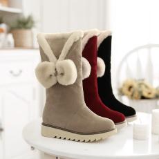 韩版日系甜美雪地靴百搭平底厚毛靴保暖女靴/XTY/636-3/P6697