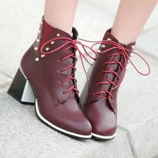 英伦秋冬新款V字柳钉短靴系带甜美高跟裸靴女靴子/XH/D-10/P6554