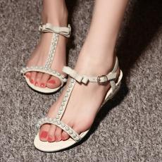 日系森女真皮丁字凉鞋低跟珍珠女鞋/FDME/H8/Z1587