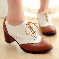英伦复古秋季单鞋深口女鞋粗跟鞋/WLH/1228/P1657