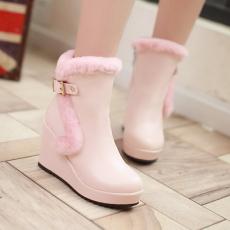 日韩甜美毛靴冬季防寒新款坡跟靴时尚百搭毛短靴/XH/M6-8/P6675
