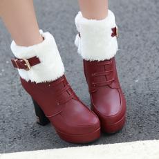 2014秋冬英伦新款毛靴防寒短靴粗跟甜美女靴/YuH/A-5/P6640