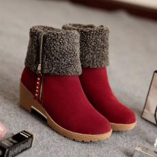 韩版冬季百搭翻折雪地靴多穿短靴中跟女靴/WM/573-1/P6687