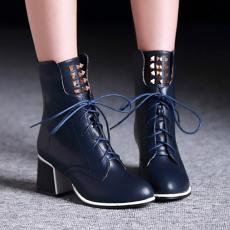 欧美简约冬季柳钉靴粗跟时尚系带短靴英伦调调女靴/XH/D-6/P6654