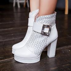 韩版国际范儿裸靴粗跟单靴甜美简约百搭女靴/MZR/N717/P6611