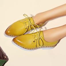 2016春季新款擦色单鞋尖头系带牛皮女鞋平底显瘦鞋DTN/6003/Z1814