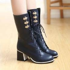 英伦冬季新款骑士靴粗跟潮靴中靴百搭气质女靴/XH/D-3/P6653