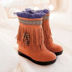 2014波西米亚新款女靴防寒冬季短靴甜美流苏靴/HFL/1298/P6626