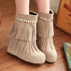 韩版冬季甜美流苏靴内增高短靴编织美靴/HC/C-8/P6605