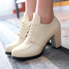 2014秋季新款深口单鞋粗跟女鞋系带通勤复古高跟鞋/WM/626/P1654