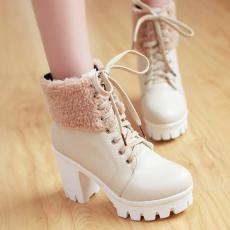 韩版冬季甜美粗跟短靴百搭系带女靴子粗跟马丁靴/YuH/955/P6625