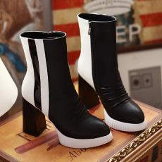 日系冬季新款粗跟女靴拼色防水台短靴瘦小脚裤靴/GXZ/8732/P6665