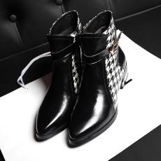 欧洲站甜美拼接女靴同款真皮短靴头层牛皮裸靴/GD/8819/Z6628