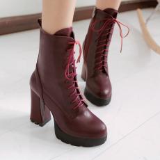 2014冬季新款系带短靴欧美经典粗跟女靴单靴女/XL/A-78/P6622