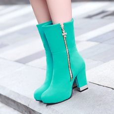 韩版冬季显瘦女靴甜美百搭粗跟靴翻折多穿美靴/HC/C-11/P6667