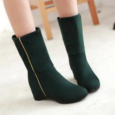 韩版冬季百搭翻折短靴多穿发女靴内坡跟甜美潮靴/Bbo/615-1/P6652