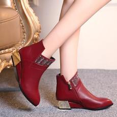 欧美秋冬电镀跟短靴时尚女靴MZR/8-1/P1860