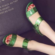 2016夏季韩版格子牛皮中跟凉鞋粗跟露齿女鞋D560/Z1915