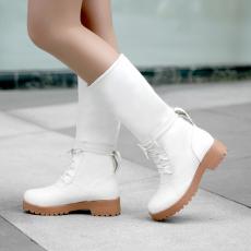 韩版防寒中靴中跟翻折多穿厚毛女靴甜美中筒靴/MeiS/706/P6662