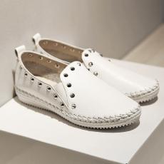 2014秋季新款平底鞋真皮深口女鞋小白鞋通勤单鞋/MK/628-2/P1656