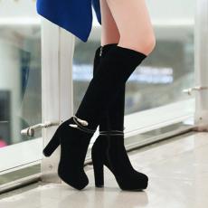韩版冬季显瘦长靴搭扣百搭粗跟女靴甜美高跟靴子/GXZ/6991/P6664