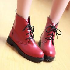 韩版秋冬甜美短靴低跟马丁靴系带百搭圆通女靴/KJQ/12-10/P6641
