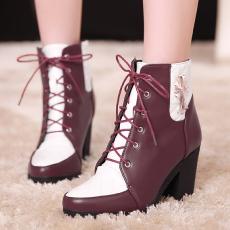 英伦秋冬新款短靴时尚克罗心拼色女靴系带粗跟靴/QZ/769-1/P6601