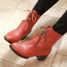 日系VV冬季单靴系带简约冬季女靴百搭短靴/SK/SX-7/P6660