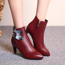 优雅珍珠铆钉印花女靴高跟短靴百搭丽人靴MZR/8-15/P1866