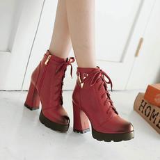 潮流8-擦色圆头粗跟女靴欧美系带V字短靴XL/A-12/P1863